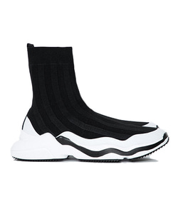 Line Top Socks Shoes (Black/White)